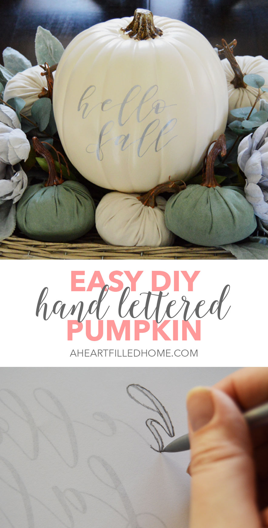 An Easy DIY Hand Lettered Pumpkin Tutorial from aheartfilledhome.com
