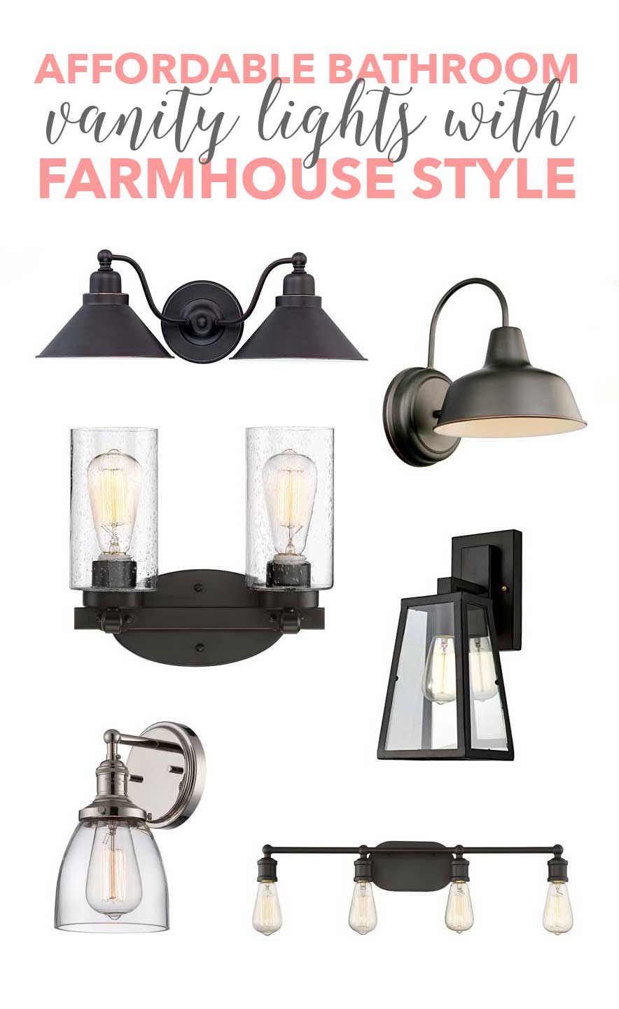 Affordable Bathroom Vanity Lights with Farmhouse Style!