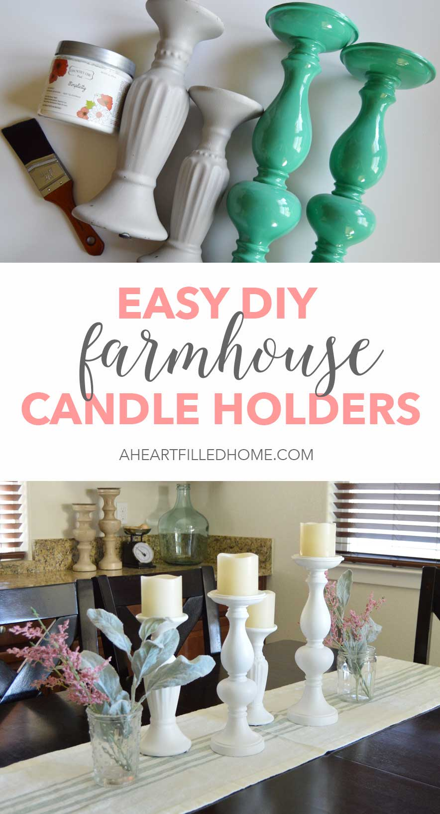 This is an easy way to create a matching set of farmhouse candle holders!