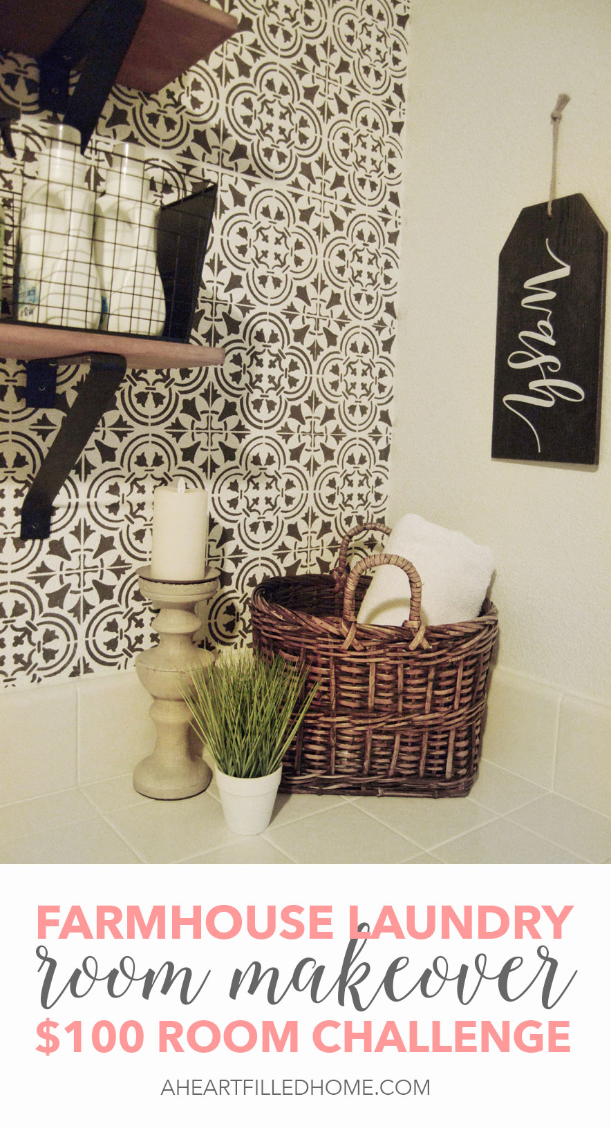 Modern farmhouse laundry room makeover for only $100!