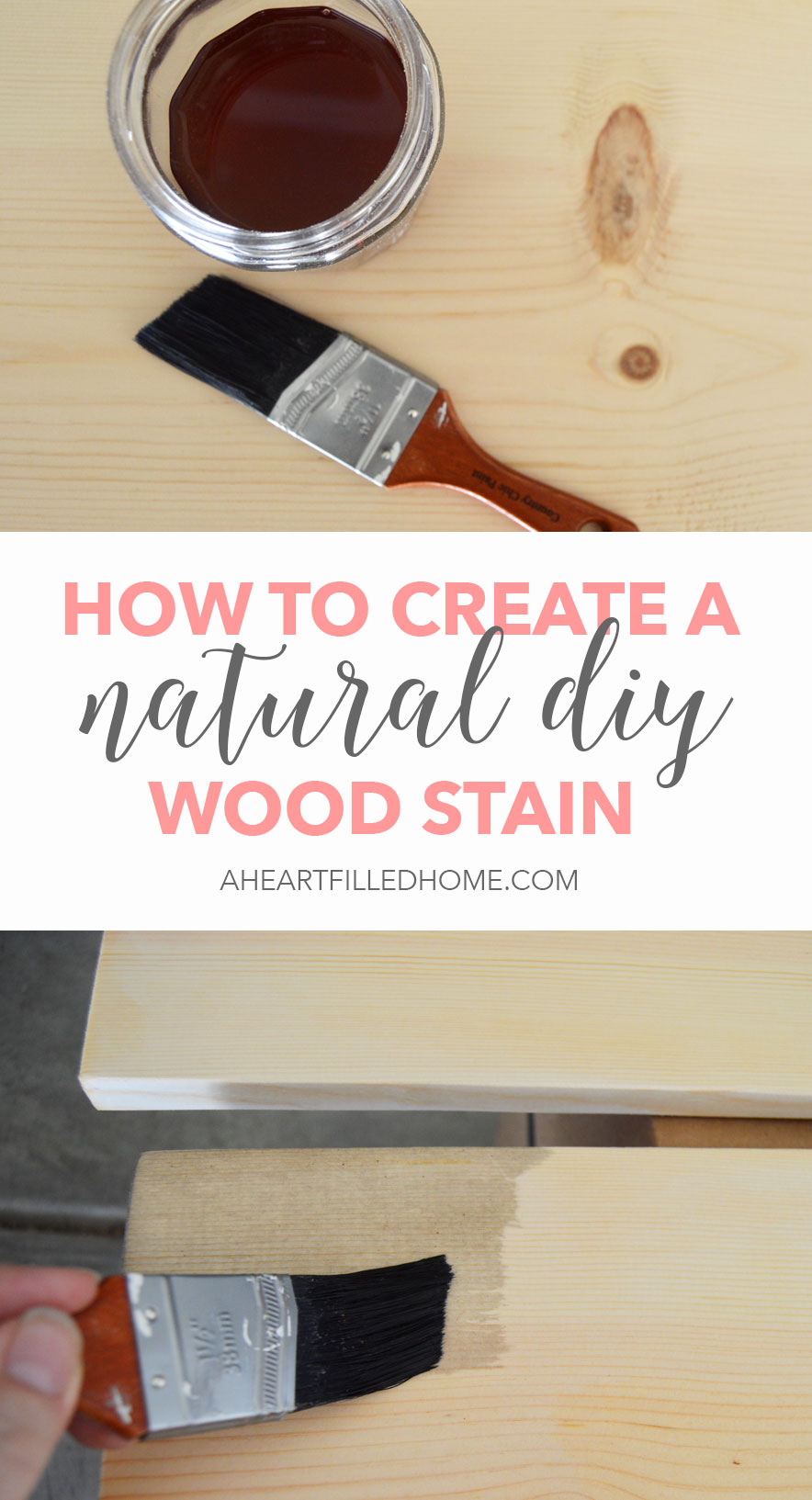 How To Create A Natural DIY Wood Stain - the perfect way to naturally stain wood to use in home decor projects!