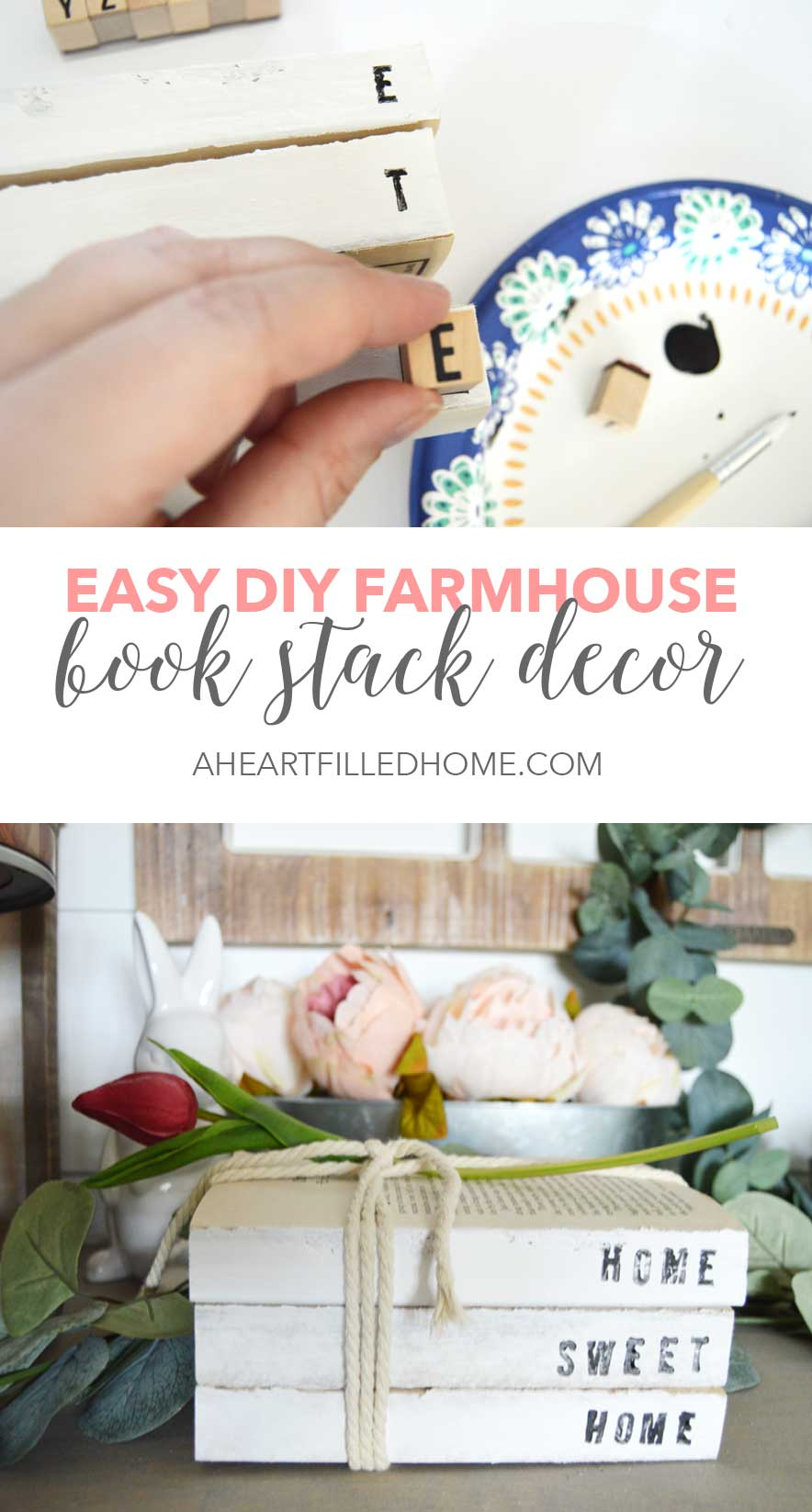 Thrift Store Transformation Tuesday! See how I transformed some old paperback books into some beautiful farmhouse decor!