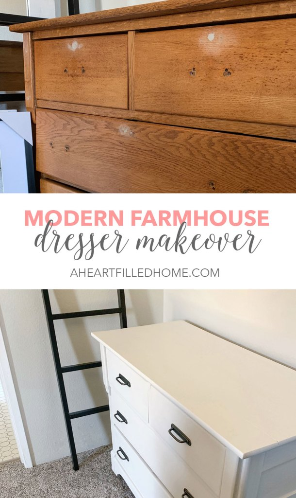 I gave this old dresser a makeover using Fusion Mineral Paint - check out the full transformation of this modern farmhouse dresser at A Heart Filled Home!