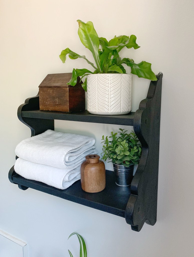 The best black spray paint - I used it to DIY this vintage bathroom shelf! I love the modern farmhouse look it brings to my master bathroom! from A Heart Filled Home