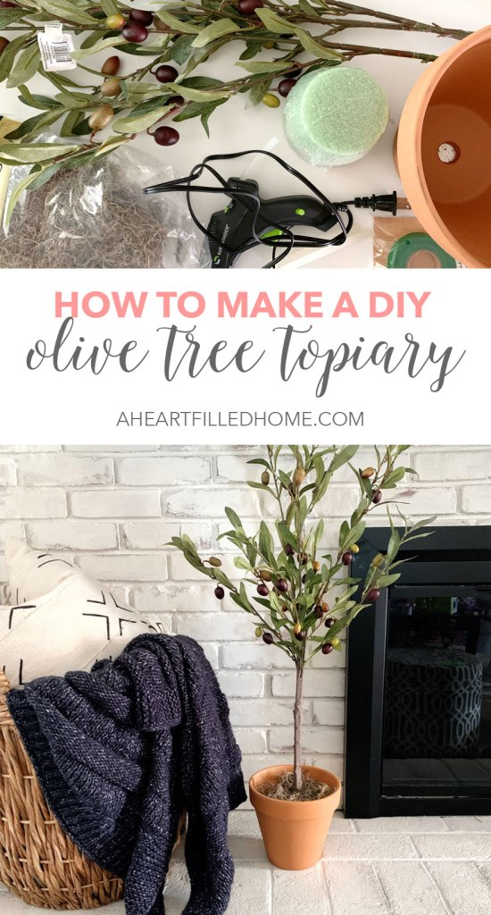 How to make a DIY olive tree topiary! This is such a beautiful and budget friendly craft project that will bring some beauty to your home decor!