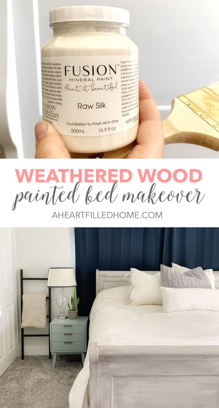 Weathered Wood Painted Bed Makeover with Fusion Mineral Paint - from A Heart Filled Home