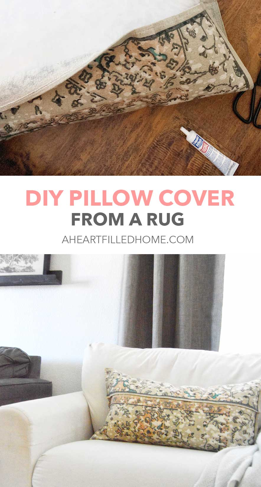How to make pillow cover from a rug - from A Heart Filled Home