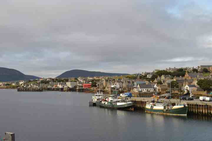 View from Stromness from MV Hamnavoe's sun deck