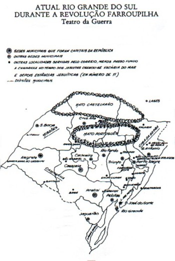 Mapa do Rio Grande do Sul em 1835