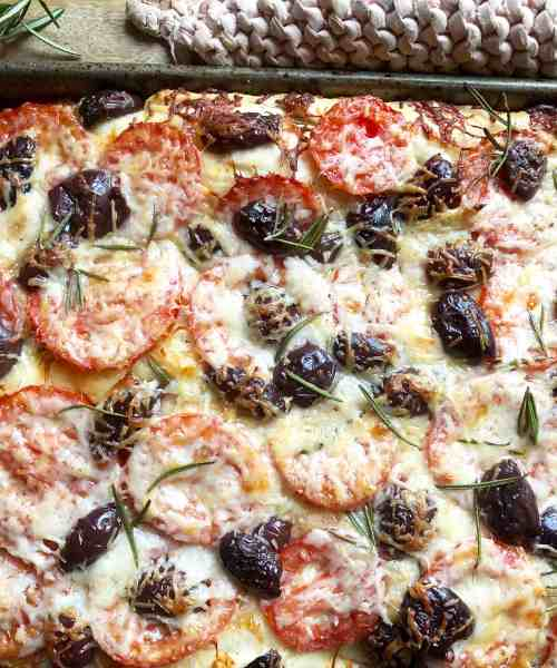 cheesy focaccia with tomatoes & olives