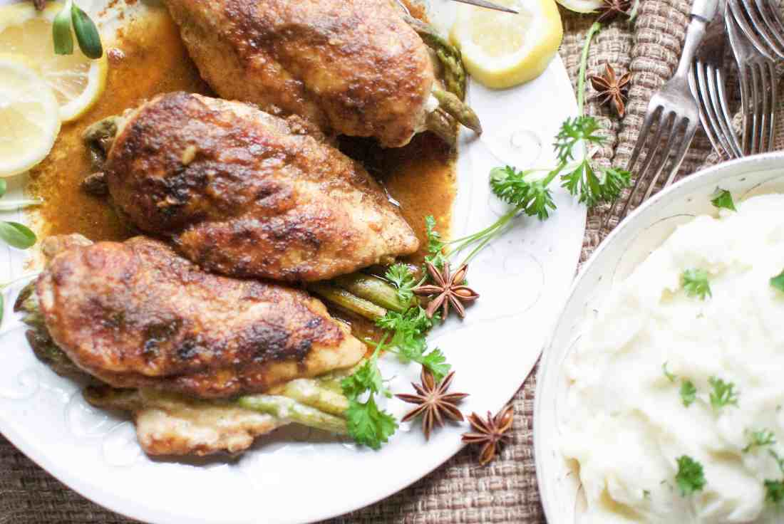 asparagus stuffed chicken with five spice sauce