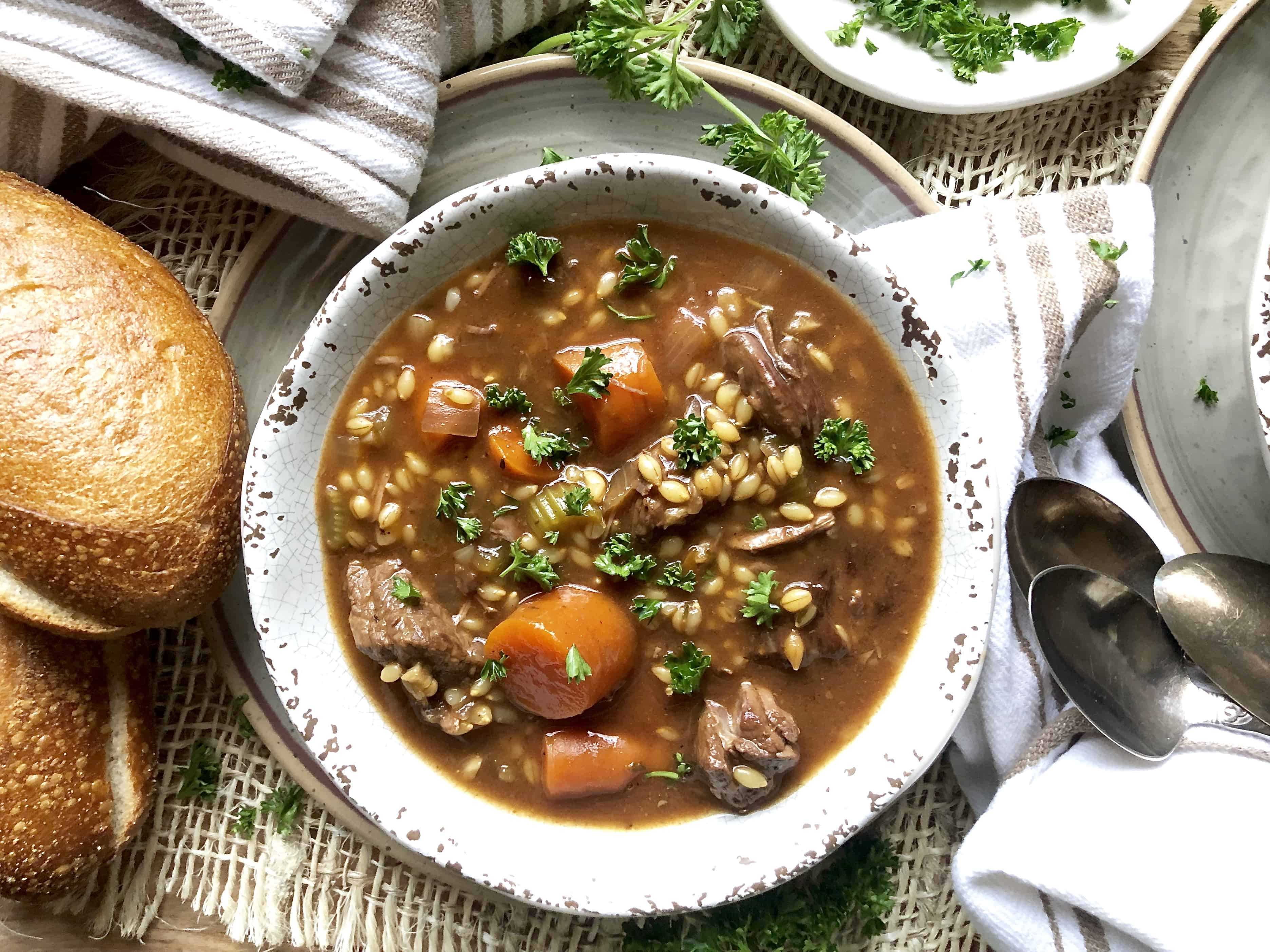 slow cooker beef & barley stew