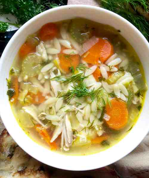 super quick chicken orzo soup