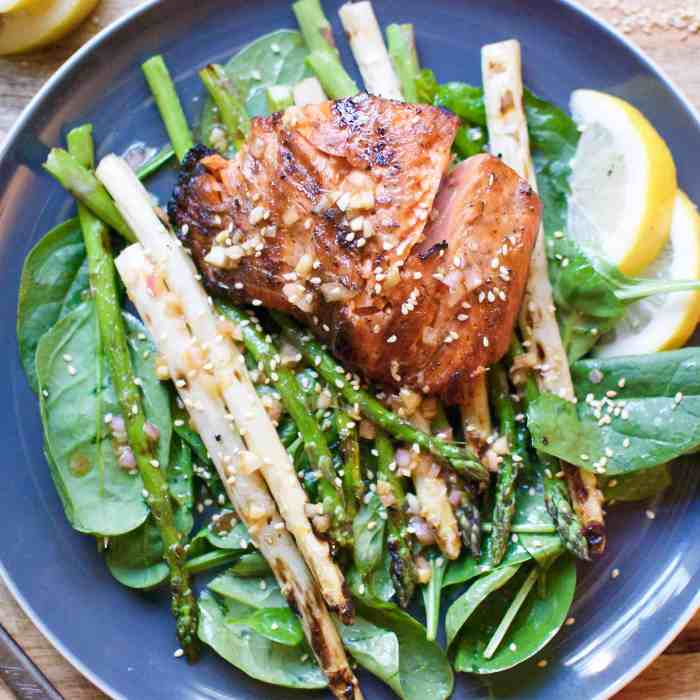 grilled asparagus & wild king salmon with shallot-ginger vinaigrette