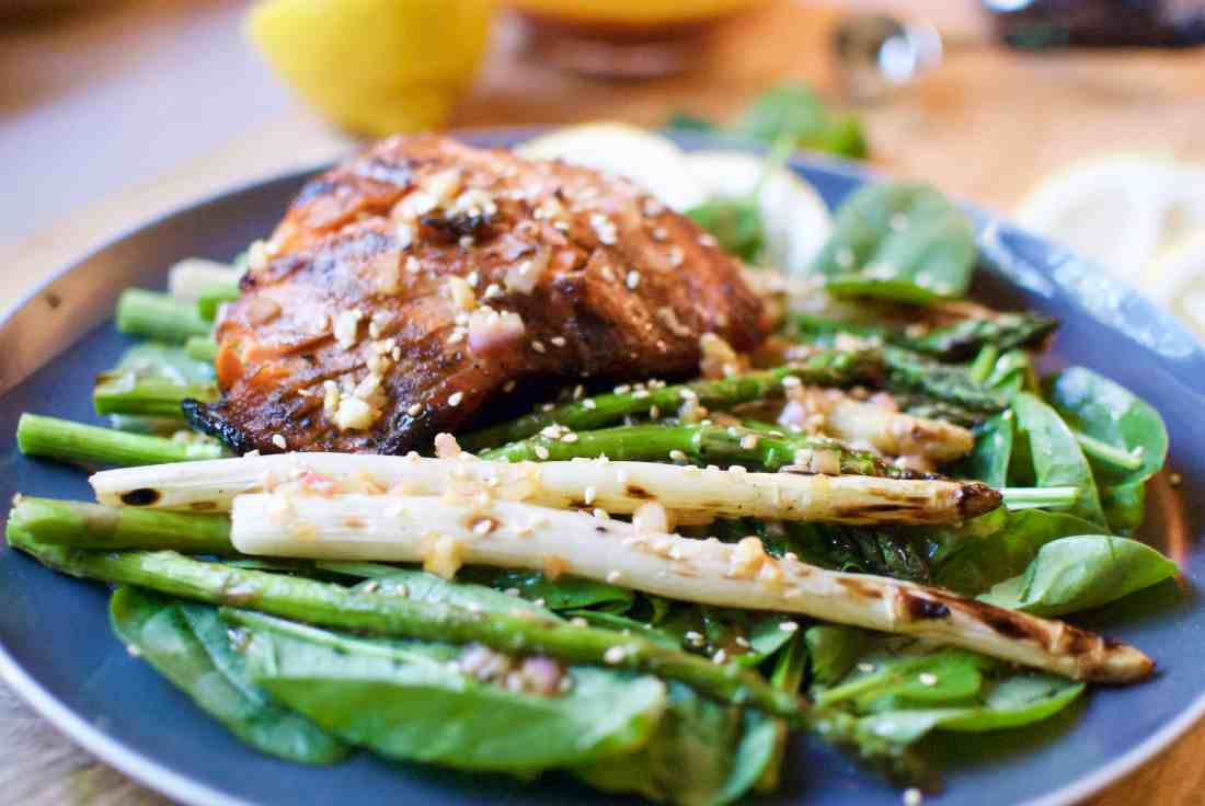 grilled asparagus & wild king salmon with shallot-ginger vinaigrette