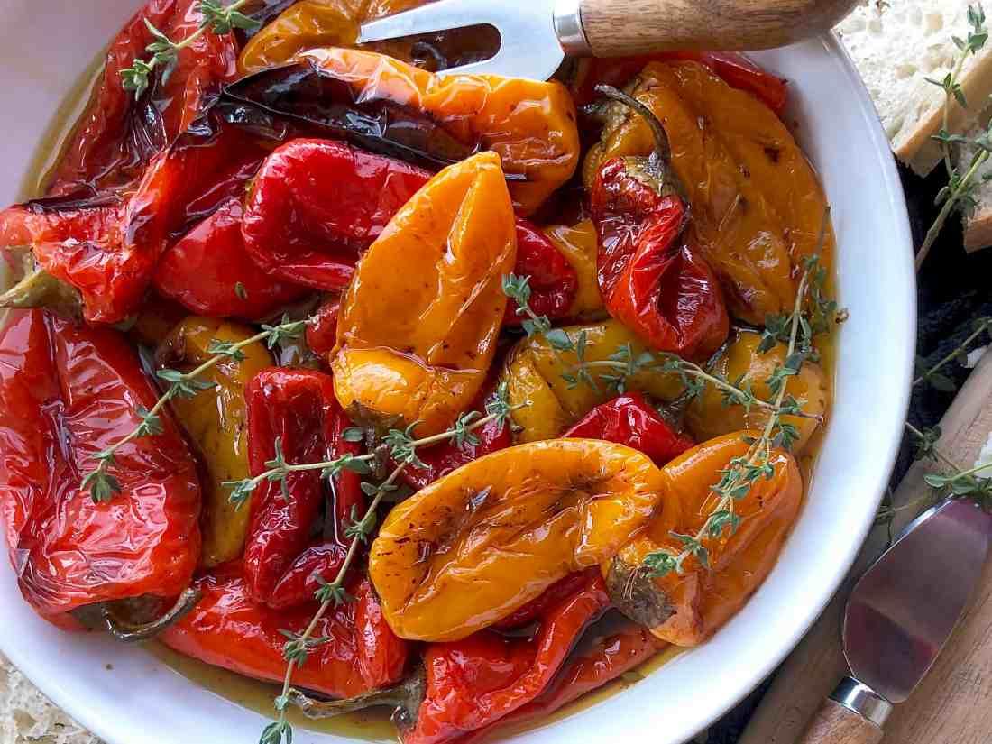 balsamic roasted mini-peppers