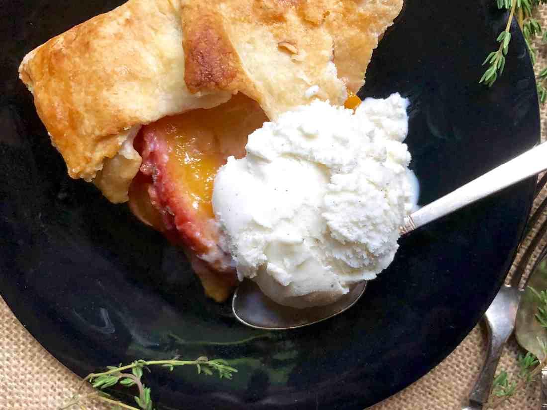 rustic thyme-infused peach tart