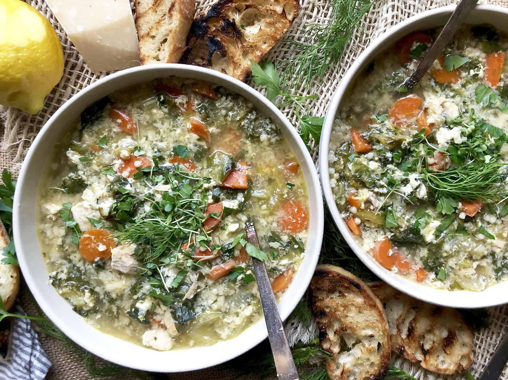 chicken escarole soup with egg & pasta