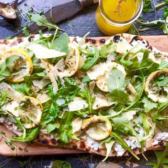 grilled flatbread with artichokes & ricotta