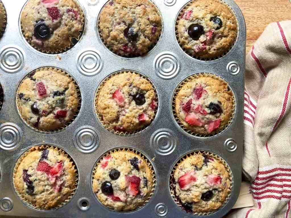 gluten-free (or not) triple berry muffins
