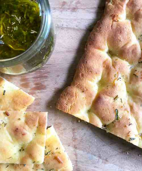 low-carb focaccia with dipping sauce
