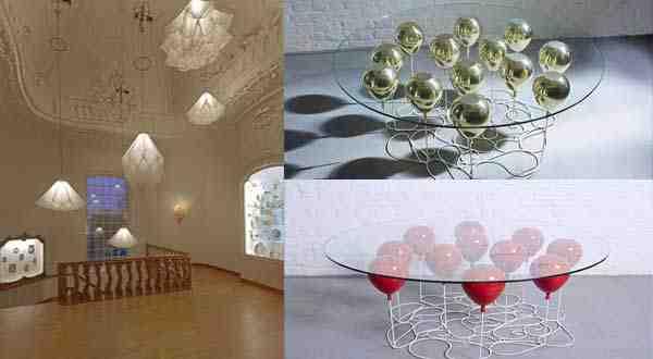 أحدث الديكورات طاولة محمولة على بالونات و مصابيح راقصة في الهواء
