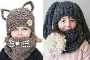 قبعات صوف كروشيه للاطفال الصغار لشتاء دافئ