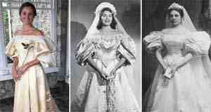 بالصور عروس ترتدي فستان زفاف متوارث عمره 120 سنة