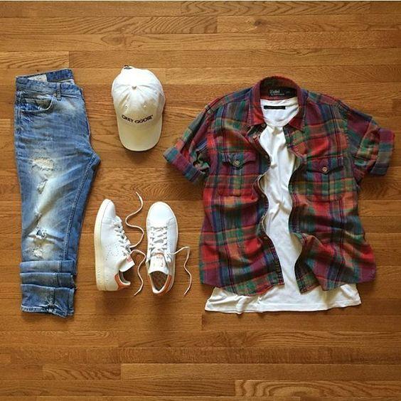 تنسيق قميص الكاروهات للرجال (12)