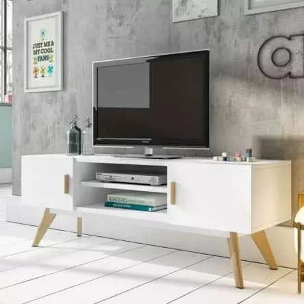 meuble tv scandinave pietement bois hetre