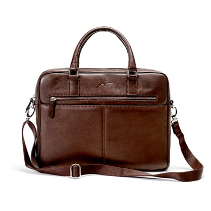 brun computer taske