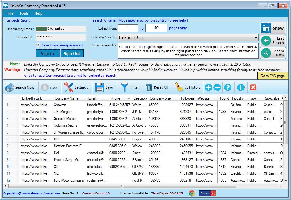LinkedIn Company Extractor Screenshot