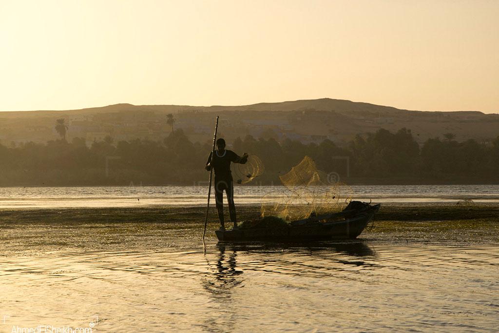 Fisher Man in sun set