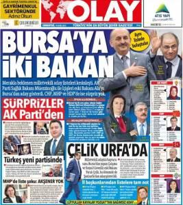 OLAY GAZETESİ 19 EYLÜL 2015 1. SAYFA