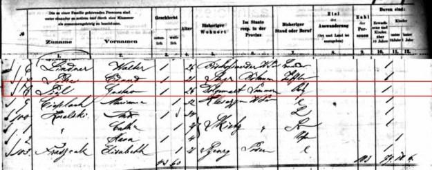 Auszug Passagierliste 1893 (Quelle: ancestry.de)