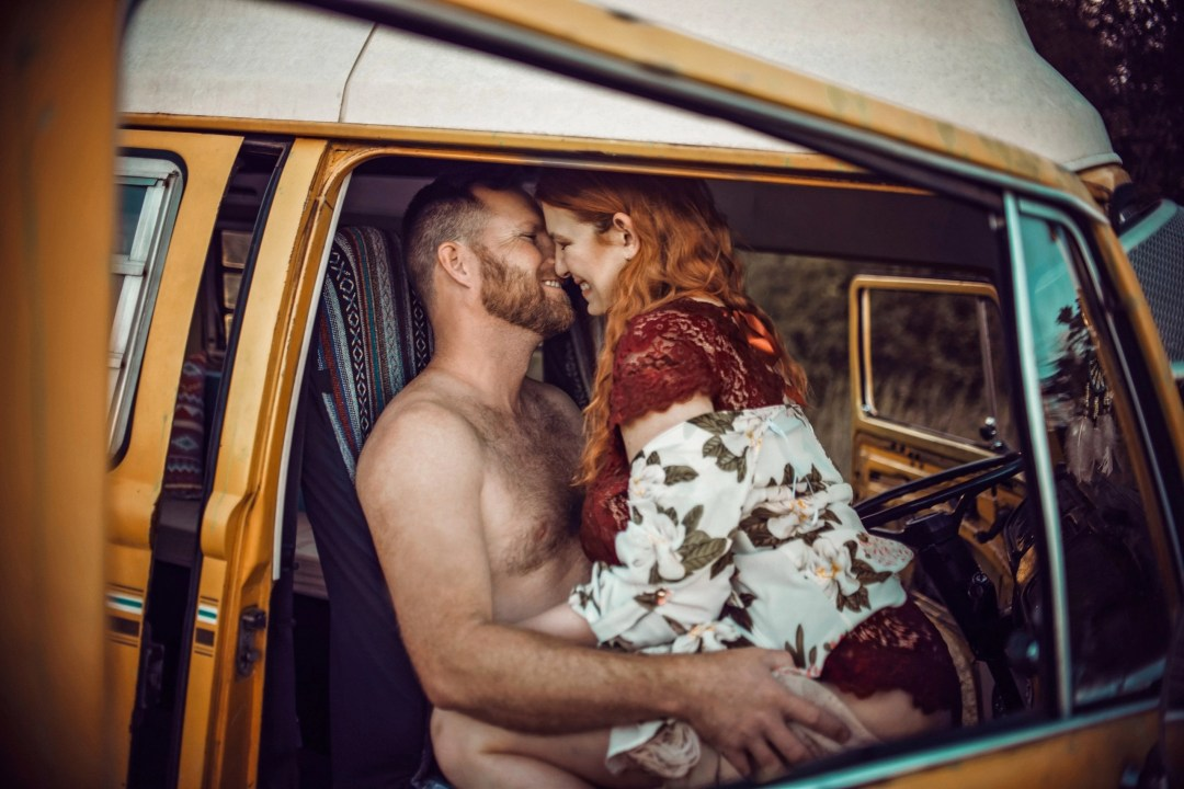 super sexy couples photo shoot shirtless man red headed woman