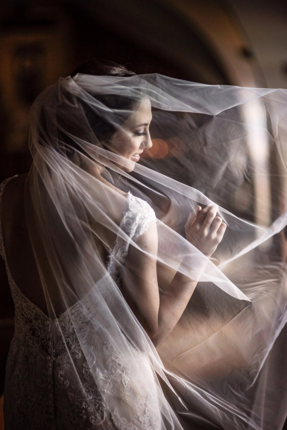 beautiful ethereal bride open back dress profile picture flowing veil