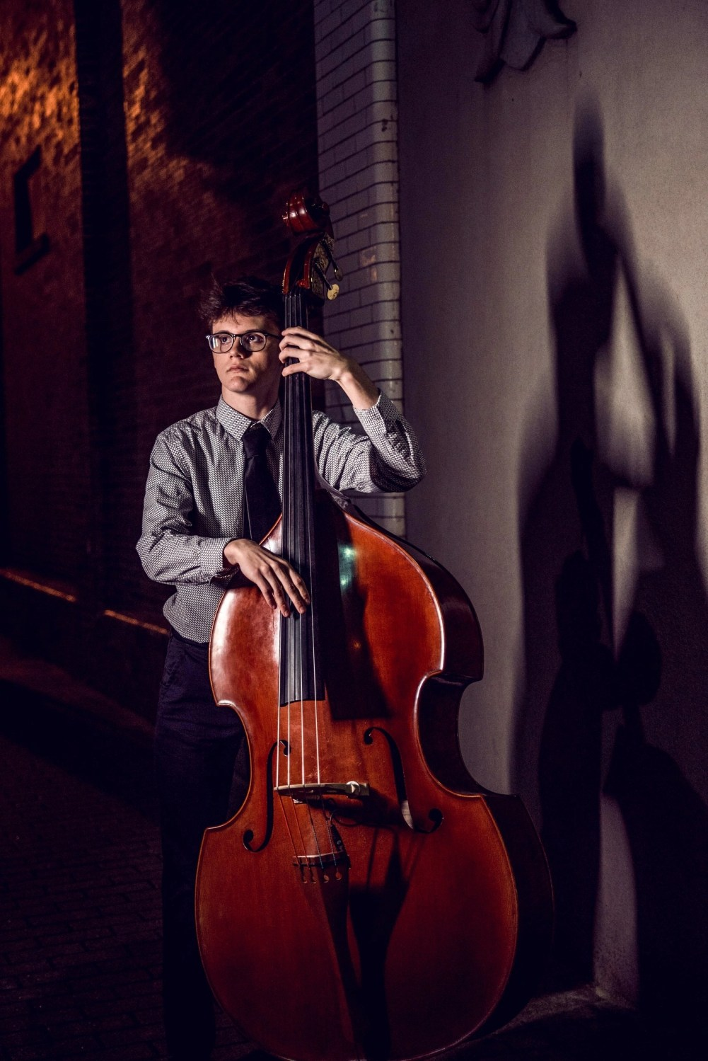artistic male senior portrait playing musical instrument