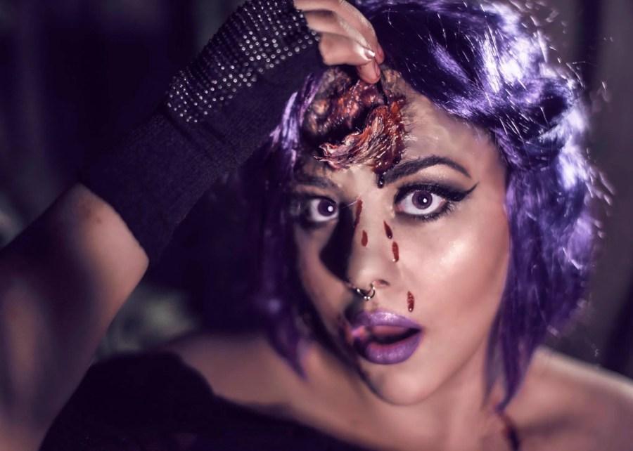 halloween purplehair spooky fxmakeup unicorn brokenhorn dark mysterious