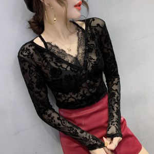 A spring ready-to-wear women's spring new Slim was thin long-sleeved collar wild fashion lace women's shirt tide