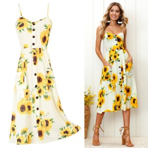 AliExpress Explosion Style Loose Large Size Printed Sling Dress Sexy Collar Beach Vacation Midi Skirt