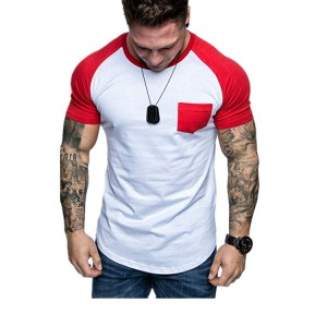 Amazon explosion models solid color round neck pocket raglan short sleeve men's shirt