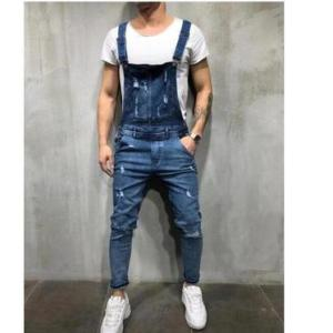 AliExpress Amazon hole loose men's denim overalls suspenders feet pants