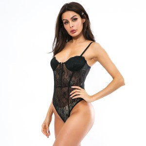 Amazon Hot Sale Summer Lace Stitching Sexy Front Buckle Sexy Jumpsuit Spot Wholesale