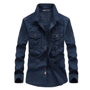 a generation of men's fashion denim shirt men's pocket long sleeve square collar shirt men's new trend