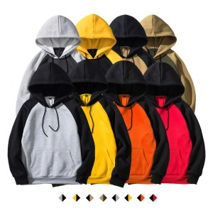 Amazon autumn and winter new men's sweater street color matching hooded jacket multicolor color matching sweater men's