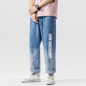 | Spring fashion trendy brand retro loose personality street men's cropped wide leg jeans youth
