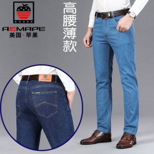 American apple spring and summer models thick cotton middle-aged business high waist loose straight jeans men's jeans