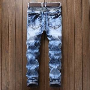 autumn new men's jeans slim straight pleated zipper motorcycle snowflake jeans