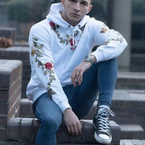Amazon Hot Sale New Flower Embroidered Men's Sweater Men Explosion Spot